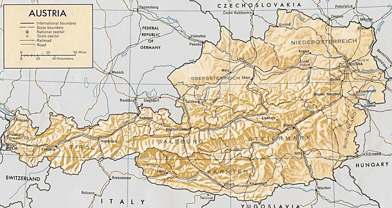 Austrija Geografija Austrija Zemljopisna Karta Zapadna Europa