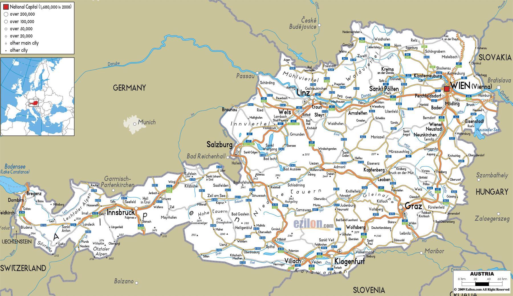 Austrija Karta Grada Detaljna Karta Austrije Sa Gradovima