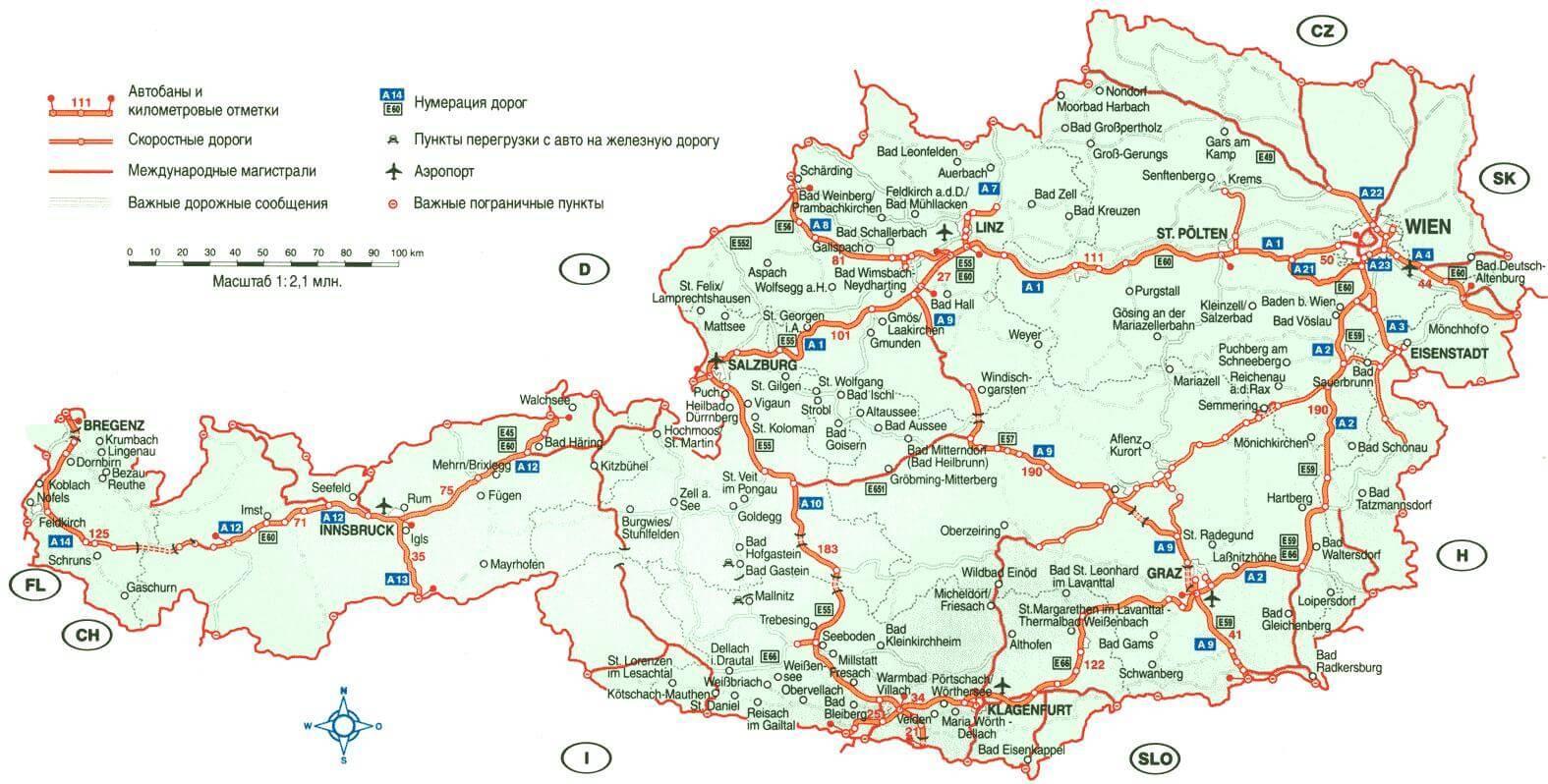 Austrija Turisticka Karta Austrija Kartica Putovanja Zapadna