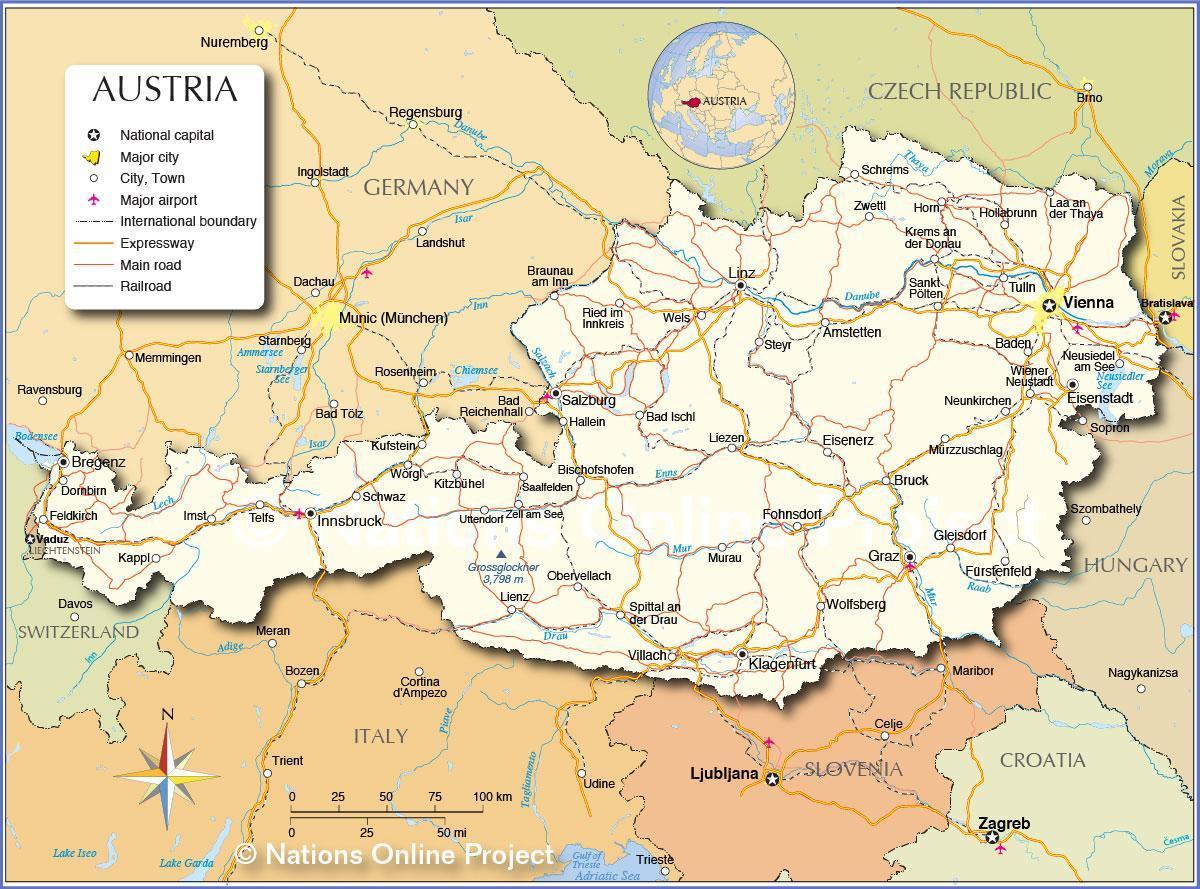 Austrija Karti Grada Karta Austrije Sa Gradovima Zapadna Europa