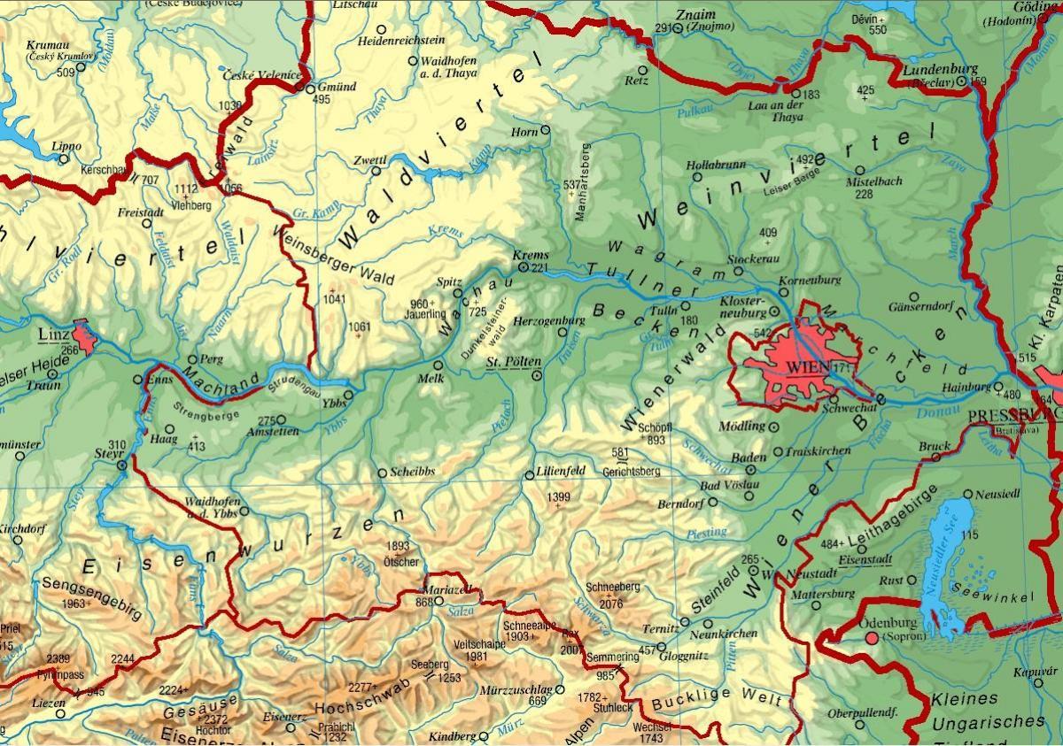 Donja Austrija Karta Donjoj Austriji Zapadna Europa Europa